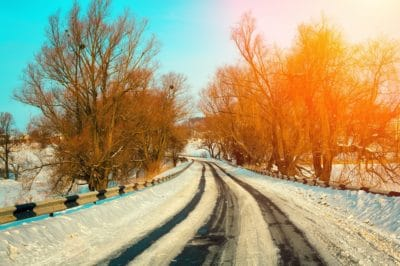 Winter snowy road in countryside